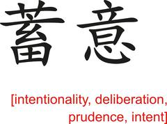 Stock Illustration of Chinese Sign for intentionality, deliberation, prudence, intent