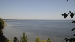 View from right bank of river Volga in summer day Stock Footage