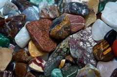 polished tumbled rocks detail - stock photo