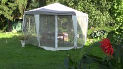 Luxury tent with protection from mosquito in summer  garden Stock Footage