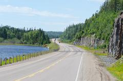 Transcanada highway along superior lake shore Stock Photos
