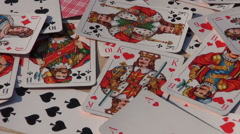 Rotate playing card colorful background Stock Footage