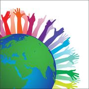 happy world with hands - stock illustration