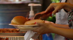 Barbeque serving line Stock Footage