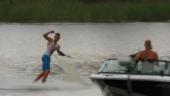 Waterski trick competition Stock Footage