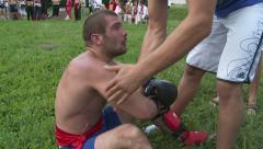 Kickboxer warming up between rounds. Stock Footage