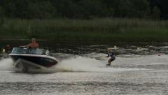 Waterski trick competition, falling Stock Footage