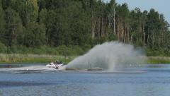 Waterski slalom competition Stock Footage