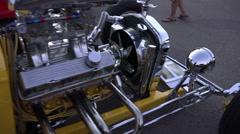 4K UHD custom built hot rod yellow chrome sleek walk around 2 - stock footage