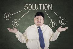 businessman doubt to choose a solution  - stock illustration