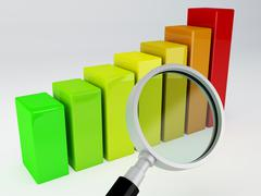 Business graph and magnifying glass Stock Illustration