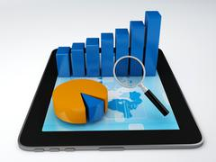 analyzing the economical business graph - stock illustration