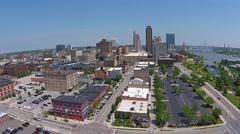 City Skyline Aerial Shot Slow decline - Toledo, Ohio - stock footage