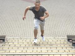 Man running up the stairs, super slow motion, 240fps NTSC - stock footage