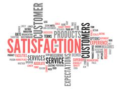 word cloud satisfaction - stock illustration