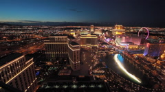 Las Vegas night strip view wide pan across Stock Footage
