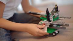 talented boy who loves to design, assembles design spacecraft - stock footage