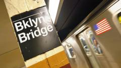 4K Brooklyn Bridge Subway Station Stock Footage