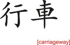 Chinese Sign for carriageway Stock Illustration