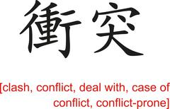 Chinese Sign for clash, conflict, deal with, case of conflict - stock illustration