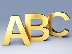 gold abc letters.  education concept. 3d illustration - stock illustration