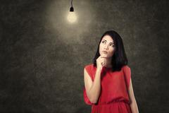 Stock Illustration of creative woman thinking bright idea