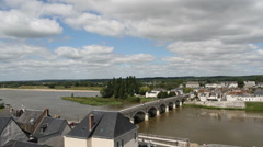 Elevated view of Bridge over River Loire Amboise France Stock Footage