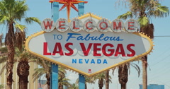 Welcome to Las Vegas sign daylight - stock footage
