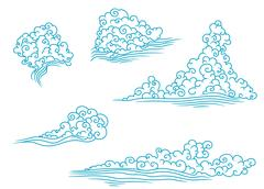 pattern with fluffy clouds - stock illustration