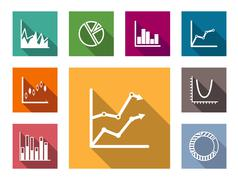 colorful graphs and charts - stock illustration
