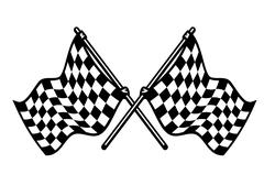 Two crossed black and white checkered flags Stock Illustration