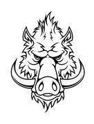 Head of a fierce wild boar Stock Illustration