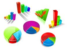 Set of colorful 3d graphs and charts Stock Illustration
