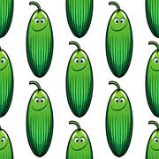 Cute green cucumber in a seamless pattern Stock Illustration
