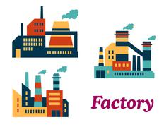 Assorted chemical factories Stock Illustration