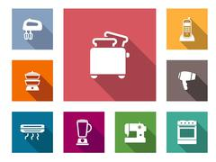 set of home appliances icons - stock illustration
