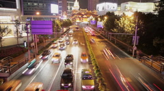 Timelapse of rush hour traffic in Jingan District at night , Shanghai, China Stock Footage