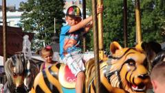Merry go round - close up. - stock footage