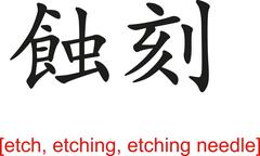 Chinese Sign for etch, etching, etching needle - stock illustration