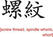 Chinese Sign for screw thread, spindle whorls, whorl Stock Illustration