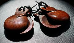 Castanets On Black Leather Subsurface - stock photo