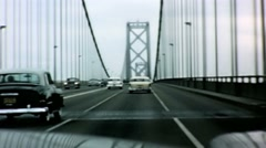 Driving across Golden Gate Bridge in the 1950's Stock Footage