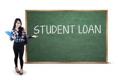 Student presenting student loan text Stock Photos