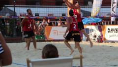 Beach Volleyball match in the city center of Lodz, Poland. Summer in the city Stock Footage