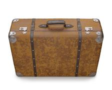 Old suitcase over white - stock illustration