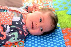 Newborn baby awake Stock Photos
