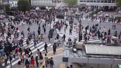 18of23 People, pedestrians walking, traffic, Shibuya Crossing, Tokyo, Japan Stock Footage