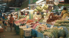 People at a Fresh Fruit Market in Bangkok, Thailand. Stock Footage