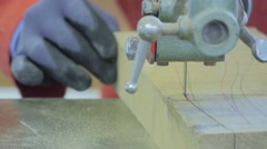 Man Using a Bandsaw Machine, Close Up - stock footage