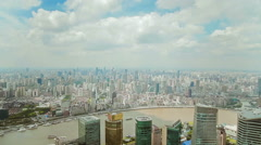 Timelapse of Boat travelling on Huangpu River past Pudong skyline ,  China Stock Footage